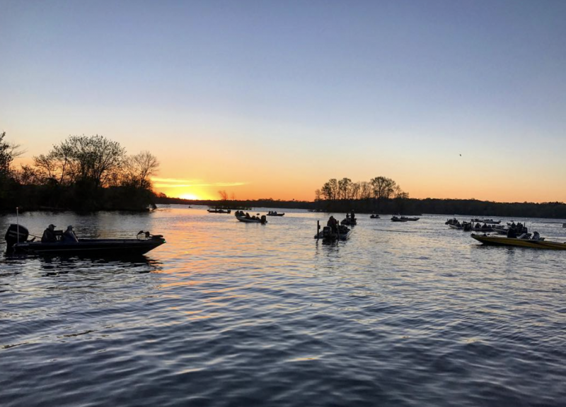 Old Hickory Lake sunrise during fishing competition